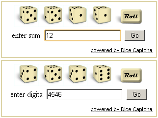 Dice captcha demo